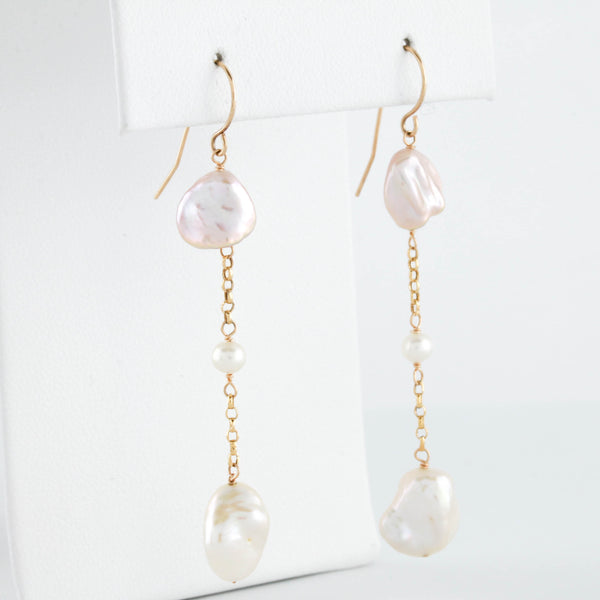 Multicolor Pearl Drops in Yellow Gold Earrings - Sindur Style
