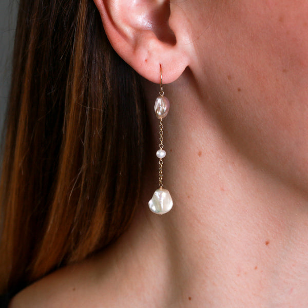 Multicolor Pearl Drops in Yellow Gold Earrings