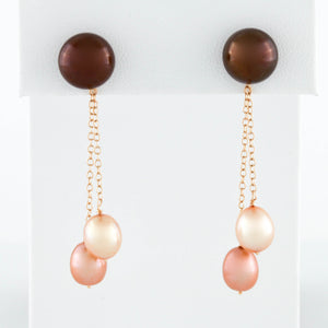 *SOLD* Yellow Gold Earrings with Chocolate and Peach Pearl Drops - Sindur