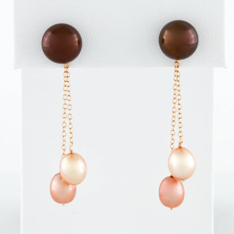 *SOLD* Yellow Gold Earrings with Chocolate and Peach Pearl Drops