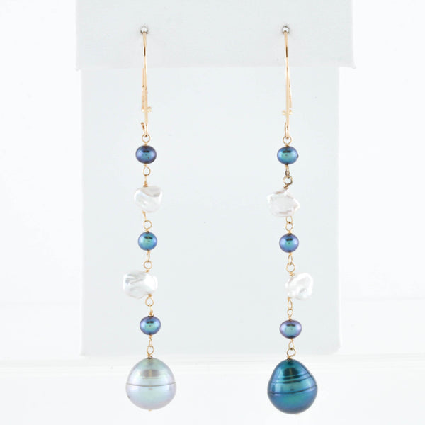 Freshwater Pearl Drops on White Gold Earrings - Sindur