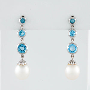 *SOLD* Blue Topaz and Pearls in White Gold Earrings