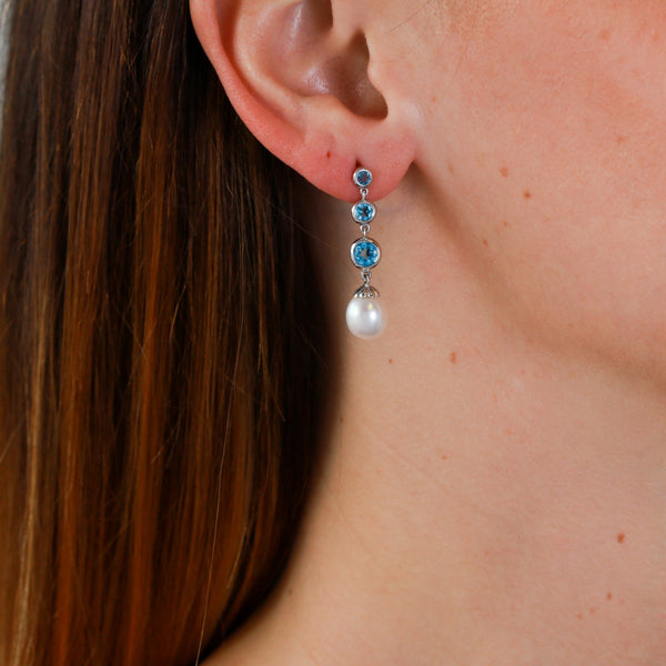 Blue Topaz and Pearls in White Gold Earrings