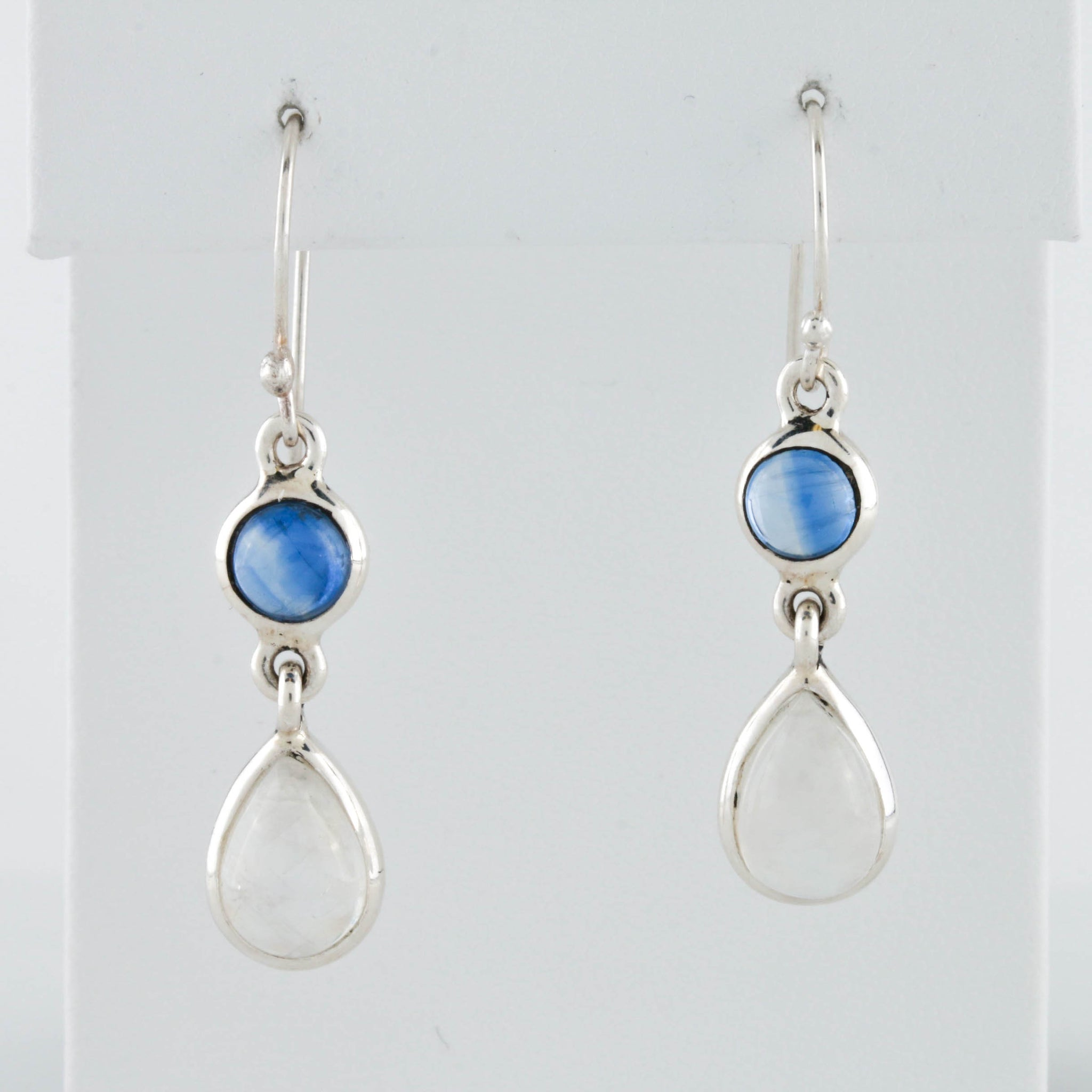 Moonstone and Sapphire in Sterling Silver Earrings - Sindur