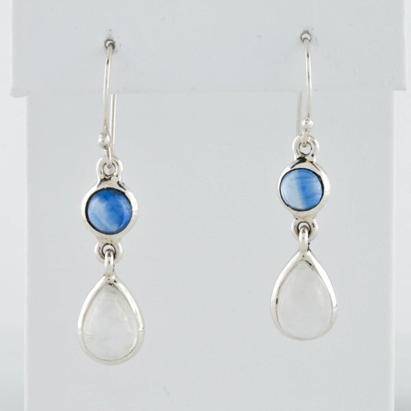 Moonstone and Sapphire in Sterling Silver Earrings