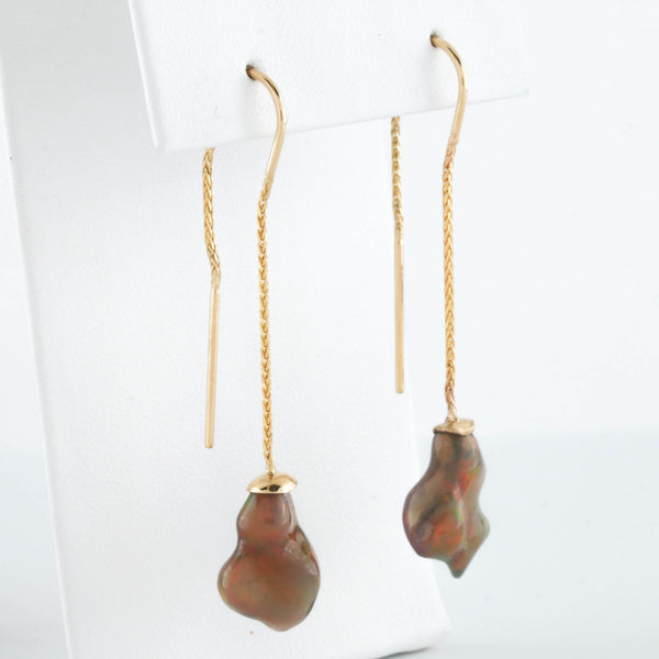 Raw Opal Drops on Yellow Gold Earrings - Sindur