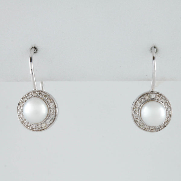 White Gold Diamond and Pearl Drop Earrings