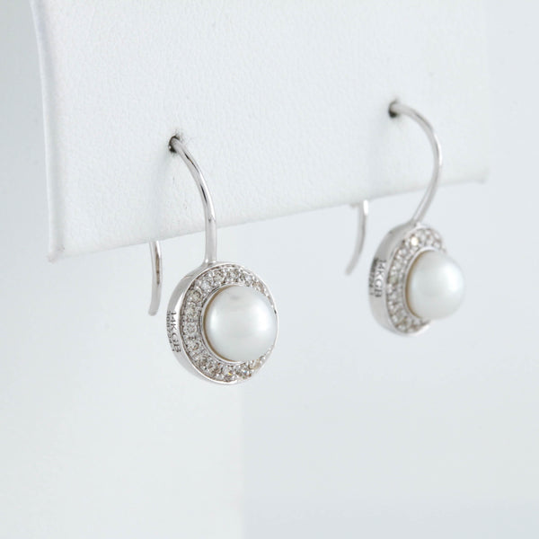 White Gold Diamond and Pearl Drop Earrings - Sindur