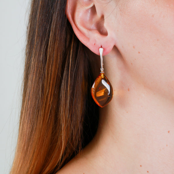 Baltic Amber in Sterling Silver Earrings