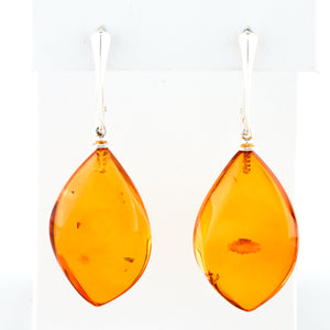 Baltic Amber in Sterling Silver Earrings - Sindur Style