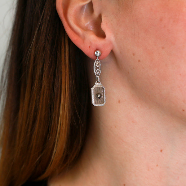 Art Deco Dangle Drop Earrings with Diamonds and Glass in White Gold