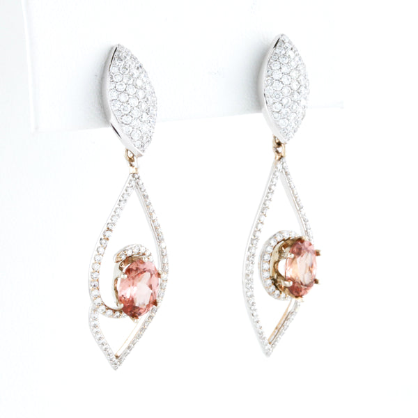 Pink Zircon and Diamonds in White Gold Earrings