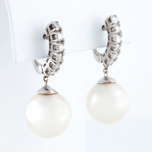 *SOLD* Cultured Pearl Drops and Diamonds in White Gold Earrings - Sindur