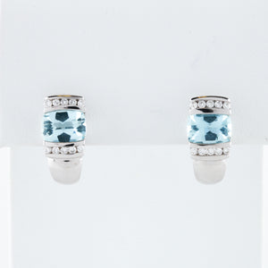 Aquamarine and Diamond in White Gold Earrings - Sindur
