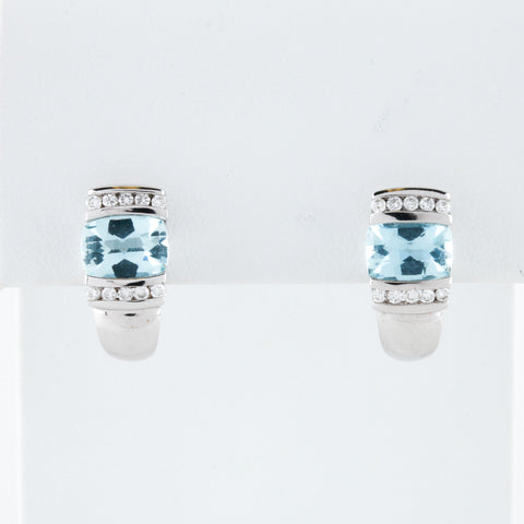 *SOLD* Aquamarine and Diamond in White Gold Earrings - Sindur Style