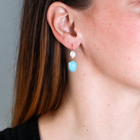*SOLD*Turquoise and Pearls in Yellow Gold Earrings - Sindur