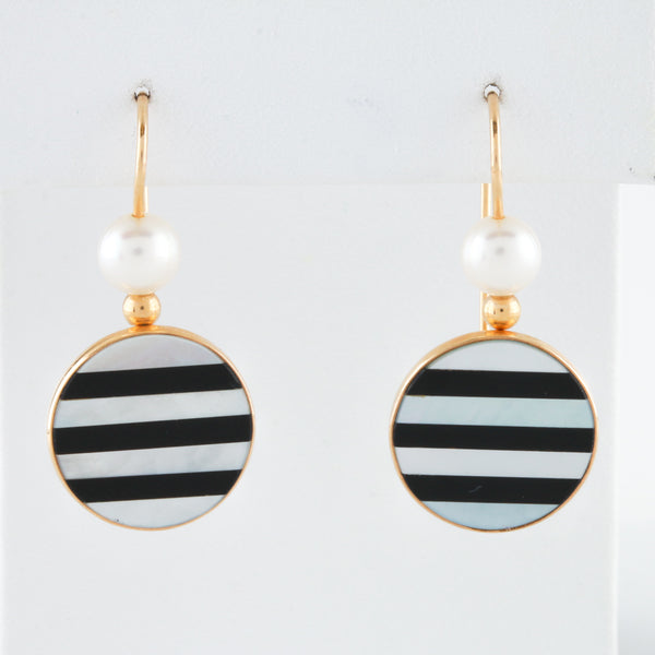 *SOLD* Onyx and Mother of Pearl Inlaid in Yellow Gold Earrings - Sindur