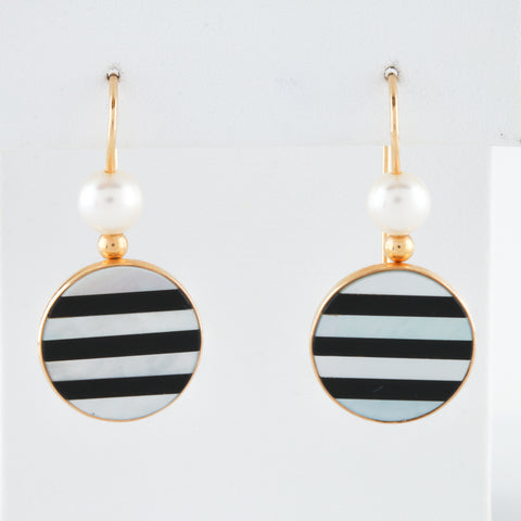 *SOLD* Onyx and Mother of Pearl Inlaid in Yellow Gold Earrings - Sindur Style