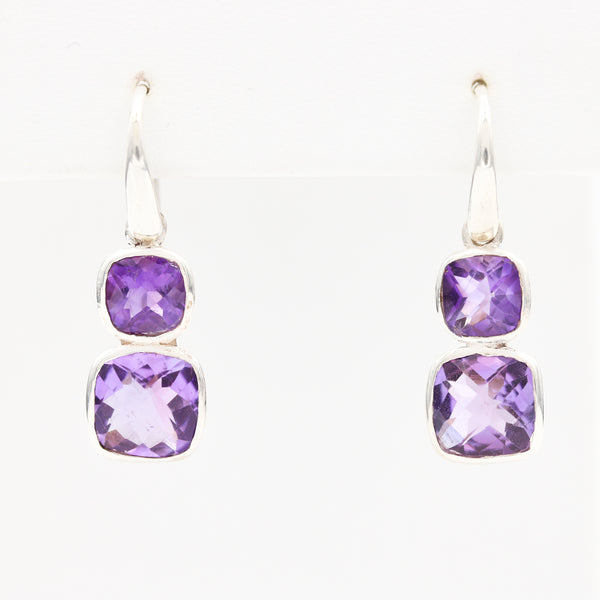 Amethysts in Sterling Silver Earrings
