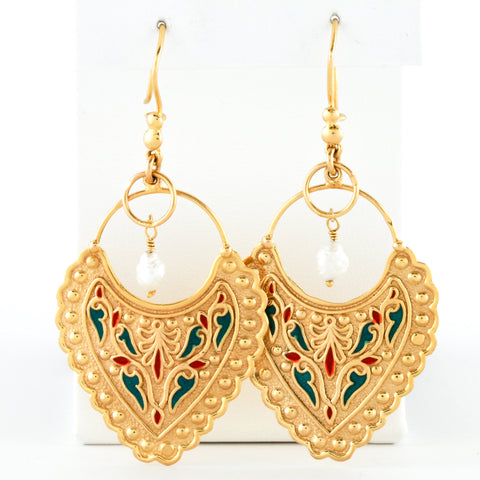 Enameled Yellow Gold with Pearl Drop Earrings