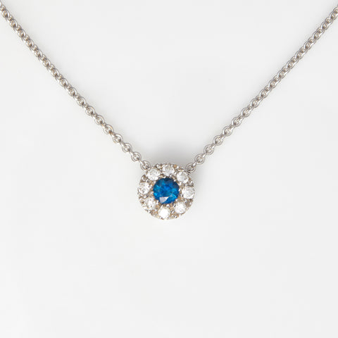 *SOLD*Sapphire and Diamonds in White Gold Necklace