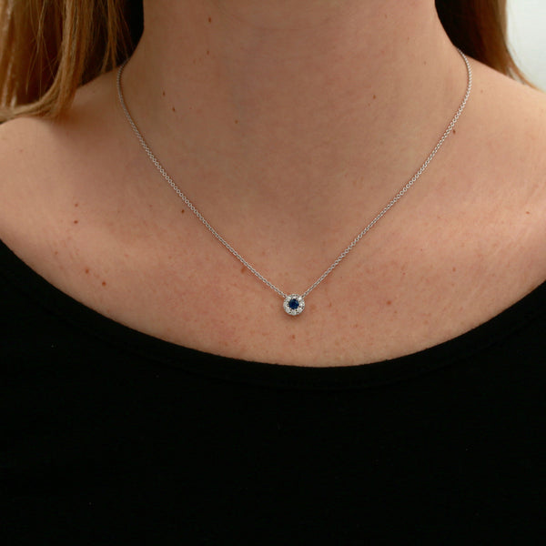 *SOLD*Sapphire and Diamonds in White Gold Necklace - Sindur