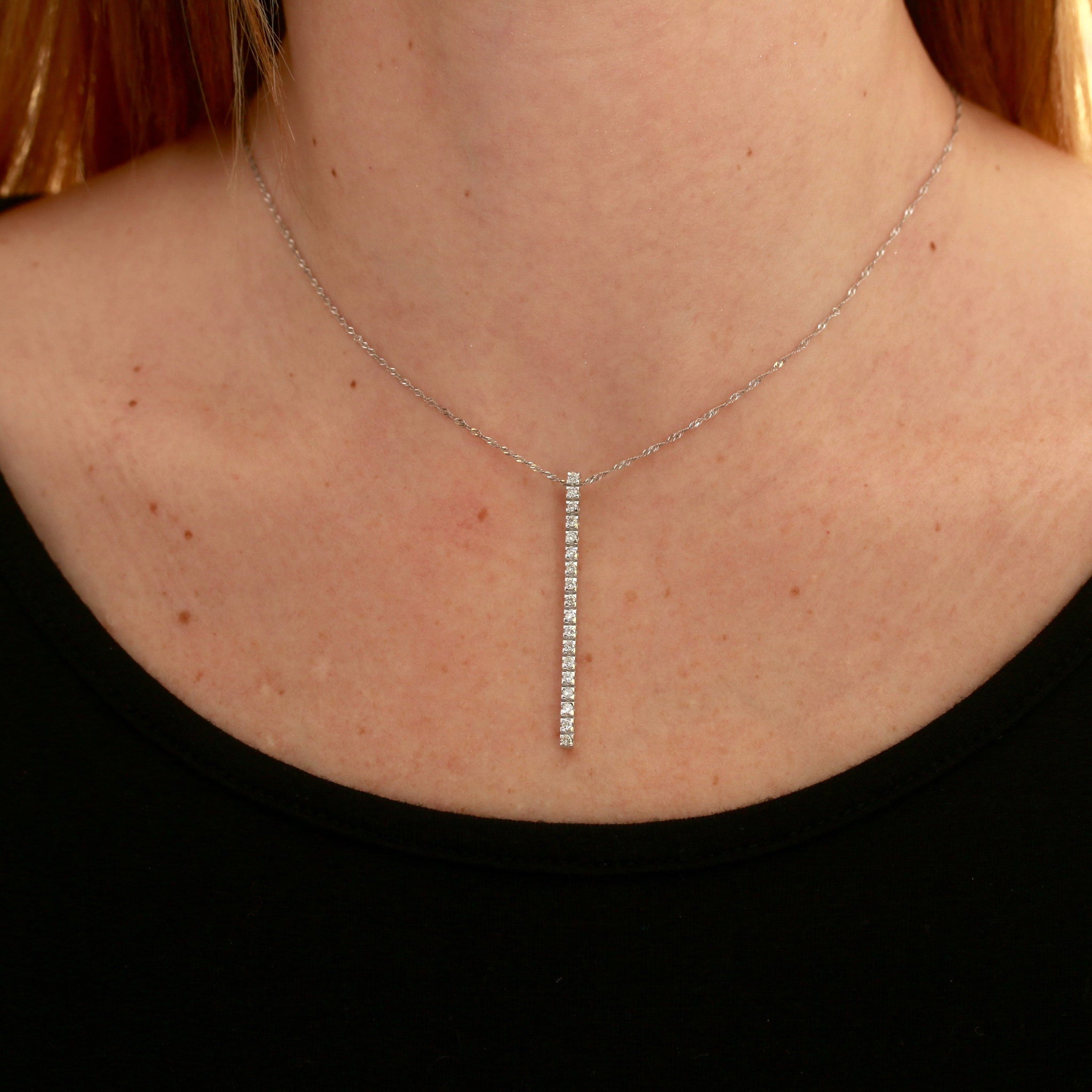 *STUDIO/CAT* Diamonds in White Gold Bar Necklace