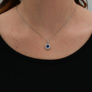 *SOLD* Sapphire with Diamond Halo in White Gold Necklace - Sindur