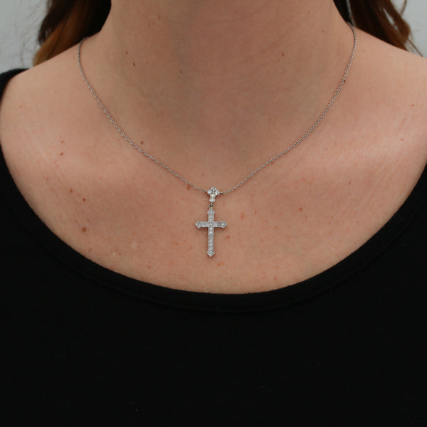 *SOLD* Diamonds in White Gold Cross Necklace - Sindur Style