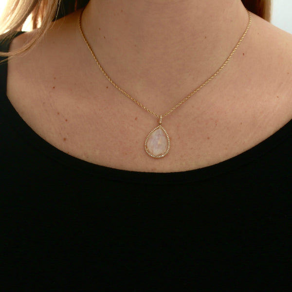 *SOLD* Moonstone and Diamonds in Yellow Gold Necklace - Sindur