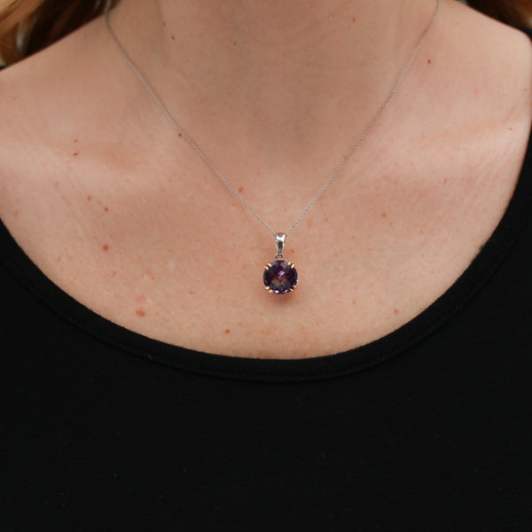 Amethyst in Two Tone Gold Necklace - Sindur Style