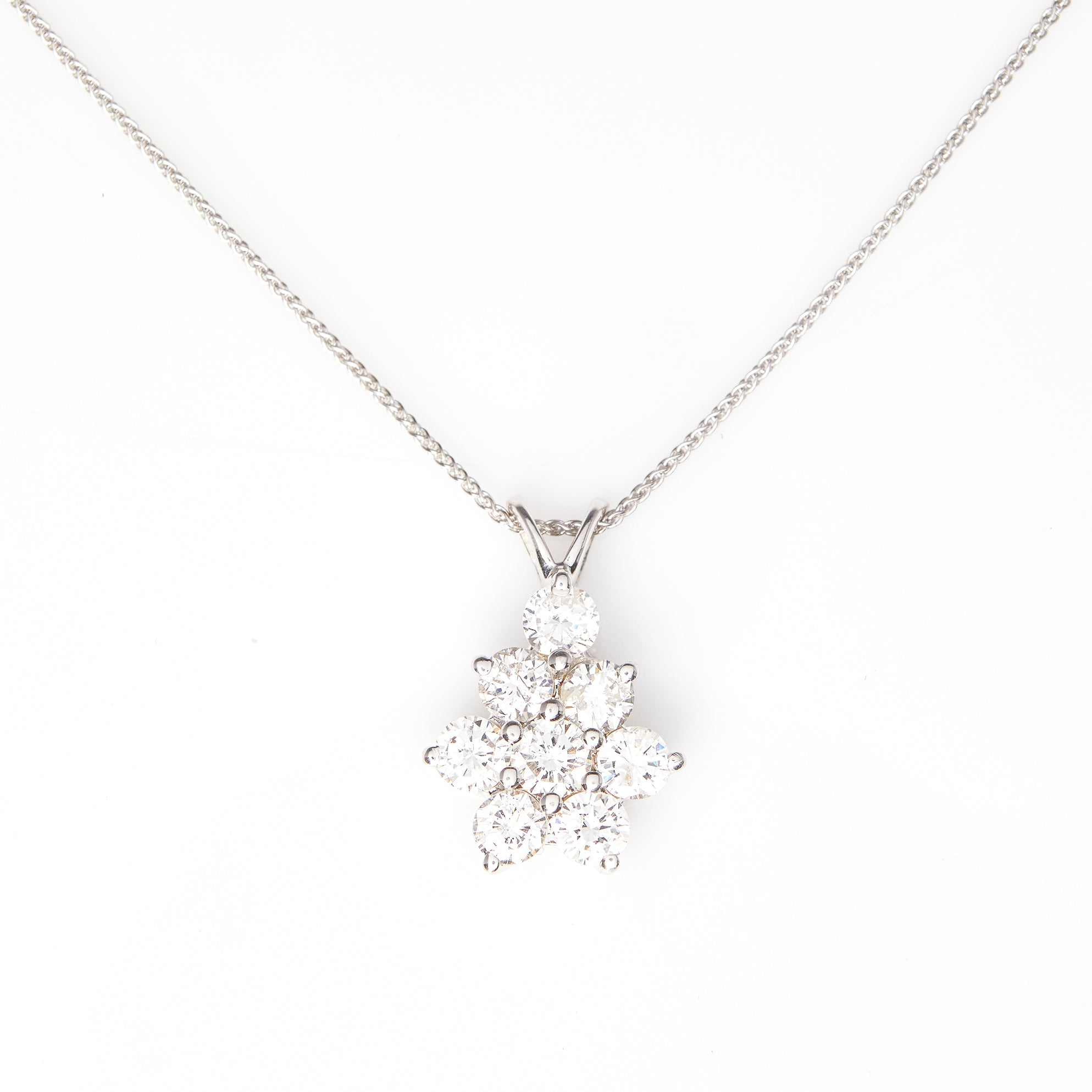 Diamond Cluster in White Gold Necklace - Sindur