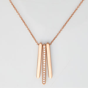 *SOLD* Diamonds in Rose Gold Bar Necklace