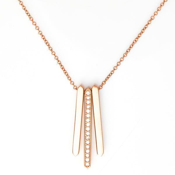 Diamonds in Rose Gold Bar Necklace - Sindur