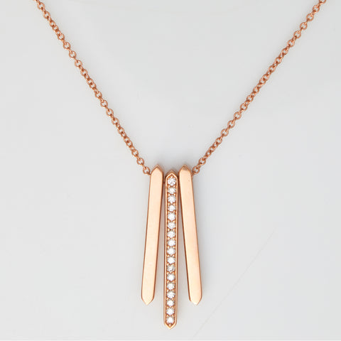 *SOLD* Diamonds in Rose Gold Bar Necklace - Sindur