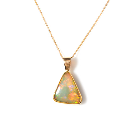 Trillion Cut Opal in Yellow Gold Necklace