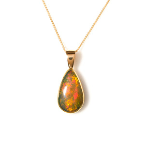 Bezel Set Opal in Yellow Gold Necklace - Sindur Style