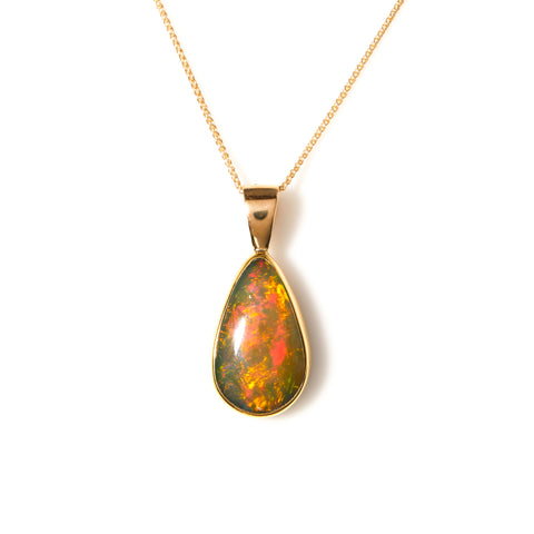 Bezel Set Opal in Yellow Gold Necklace - Sindur