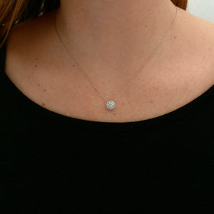 *SOLD* Diamond with Diamond Halo in White Gold Necklace - Sindur