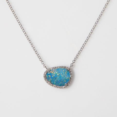 Opal and Diamonds in White Gold Necklace