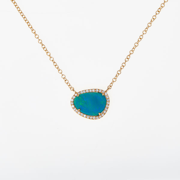 *SOLD* Opal and Diamonds in Yellow Gold Necklace