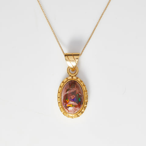 *SOLD* Boulder Opal in Yellow Gold Necklace - Sindur
