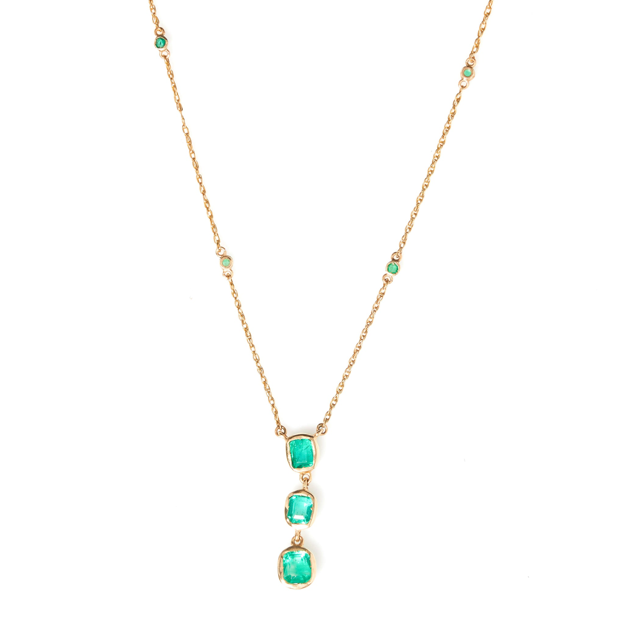 Emeralds in Yellow Gold Necklace - Sindur Style