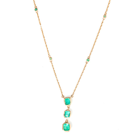 Emeralds in Yellow Gold Necklace