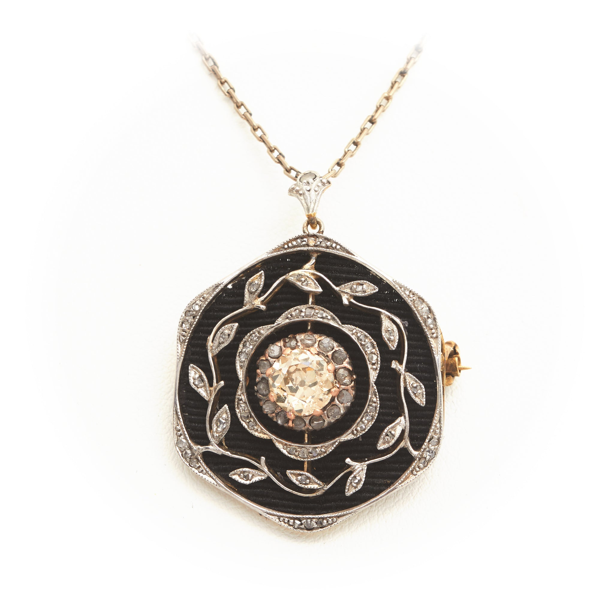 Diamonds in Antique Platinum and Yellow Gold Necklace - Sindur