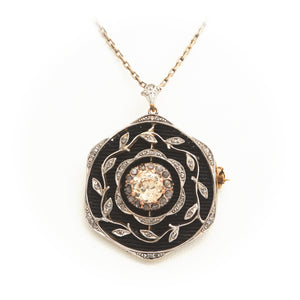 Diamonds in Antique Platinum and Yellow Gold Necklace