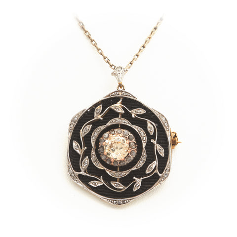 Diamonds in Antique Platinum and Yellow Gold Necklace - Sindur Style