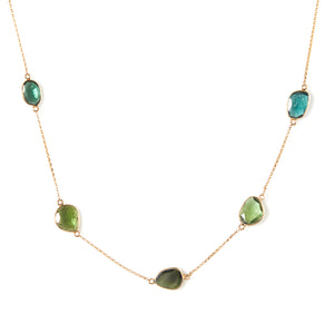 Organic Tourmaline Slices in Yellow Gold Necklace - Sindur