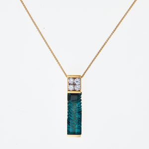 Carved Tourmaline and Diamonds in Yellow Gold Necklace
