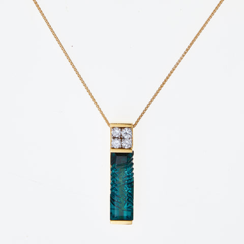 *SOLD* Carved Tourmaline and Diamonds in Yellow Gold Necklace